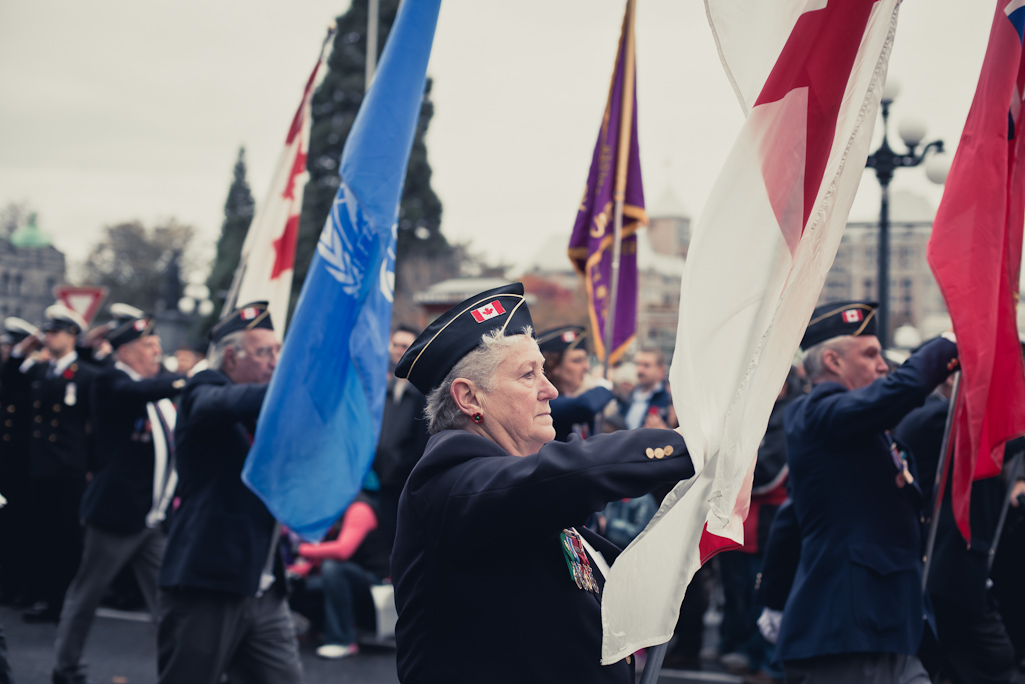 Flag bearers, Remembrance Day, Victoria, BC, photography