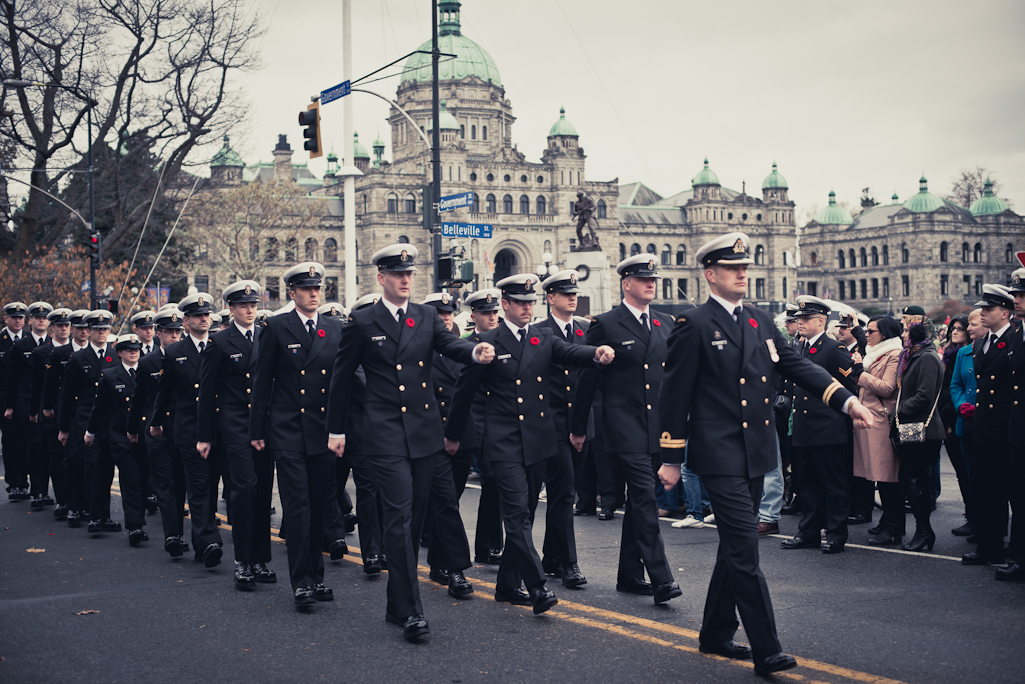 Marching military, Remembrance Day, Victoria, BC